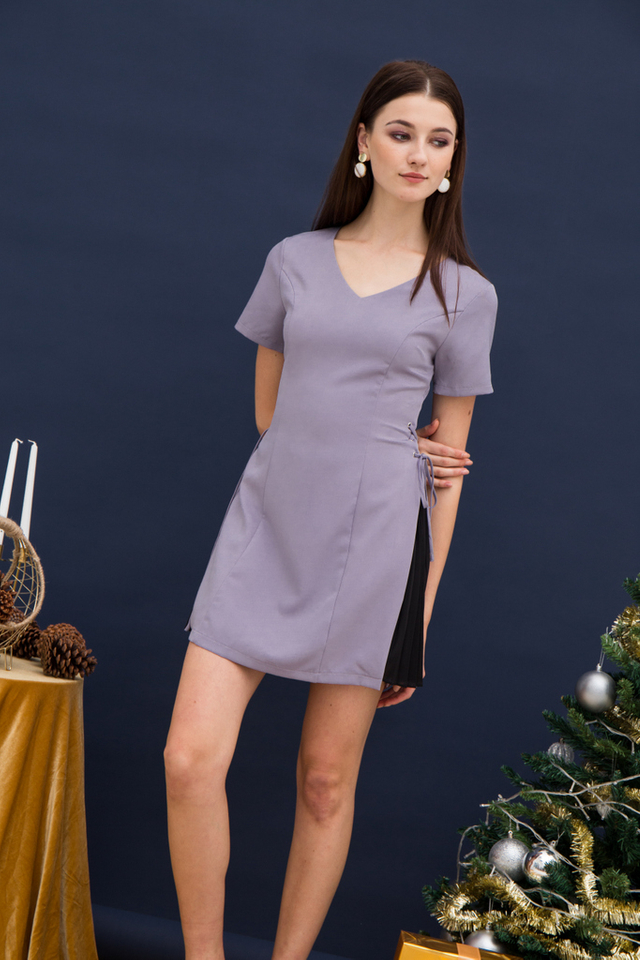 Paityn Side Pleated Dress in Lavender