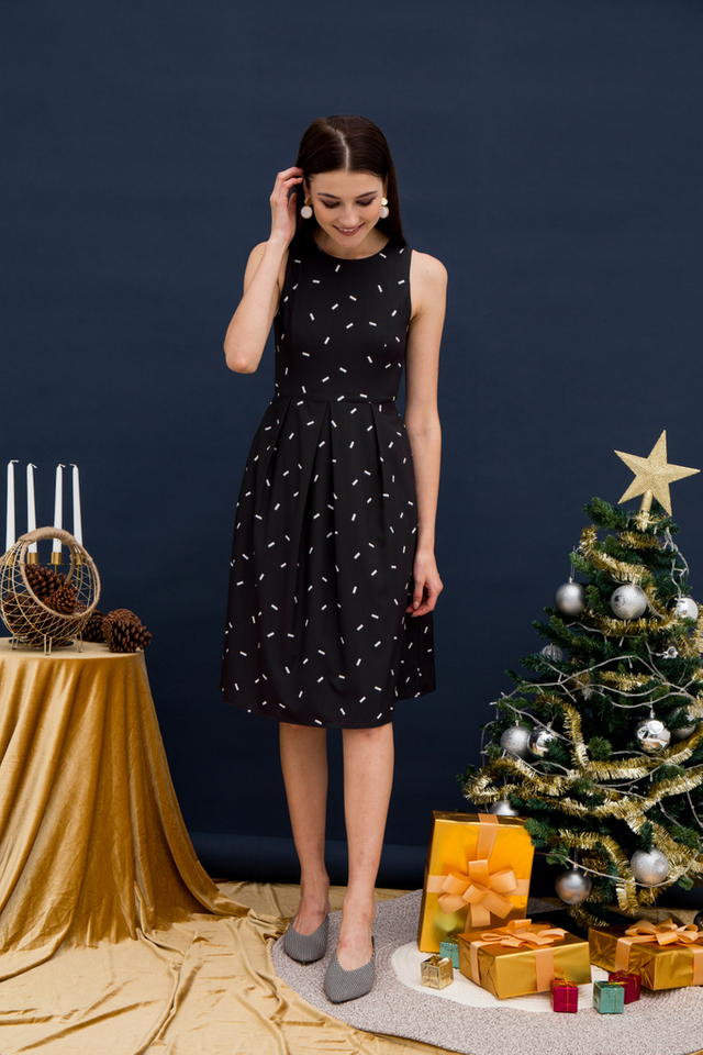 Amandine Sprinkles Midi Dress in Black