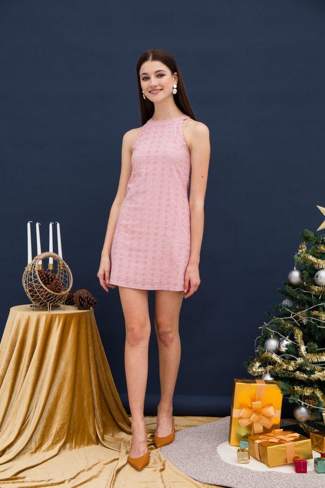 Mayra Eyelet Halter Dress in Pink