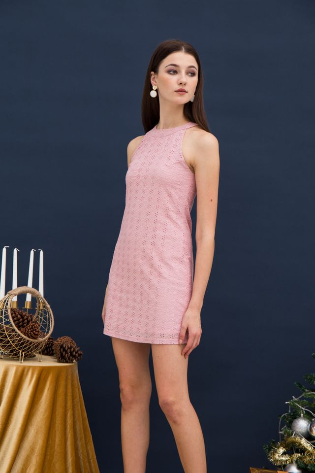 Mayra Eyelet Halter Dress in Pink