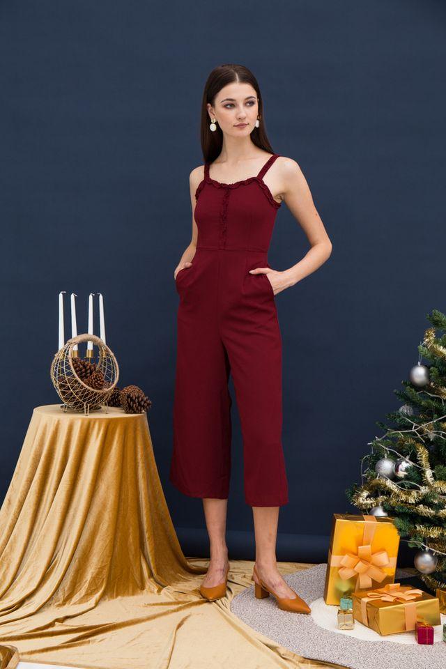 Iliana Ruffles Wide Leg Jumpsuit in Wine Red (XL)