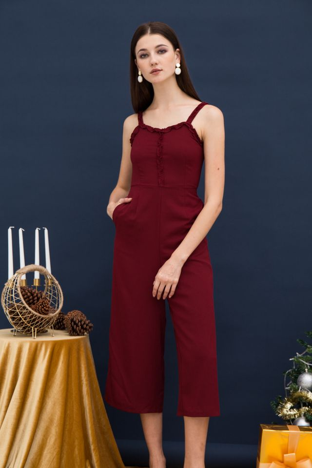 Iliana Ruffles Wide Leg Jumpsuit in Wine Red