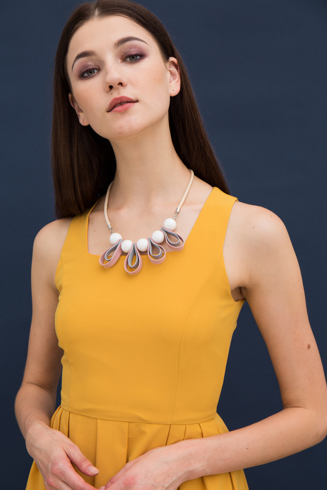 Torill Bead & Fabric Necklace in Pink