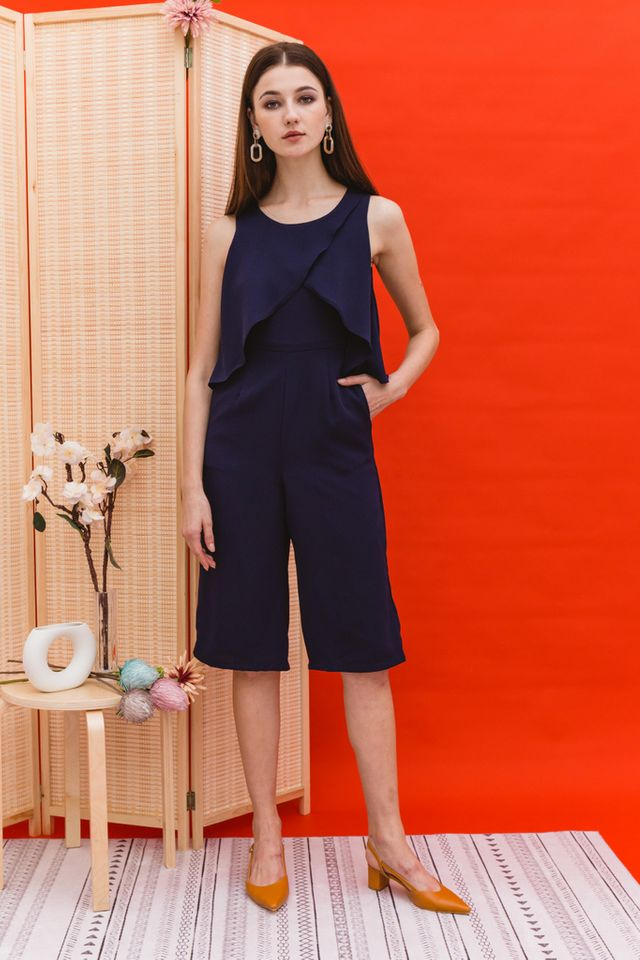 Tavia Asymmetrical Ruffles Jumpsuit in Navy