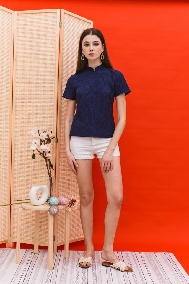 Lin Lace Mandarin Collar Top in Navy (XS)