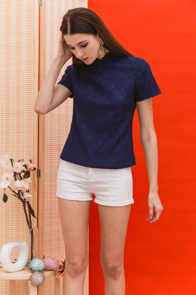 Lin Lace Mandarin Collar Top in Navy