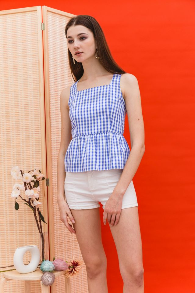 Phillidia Gingham Peplum Top in Blue (XL)