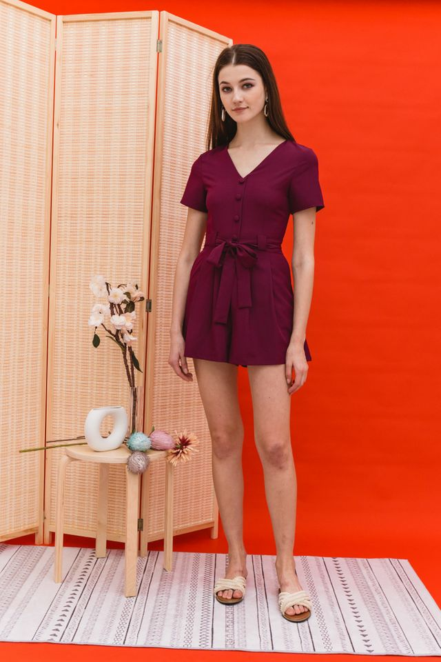 *RESTOCK* Caris Soft Pleated Romper in Plum