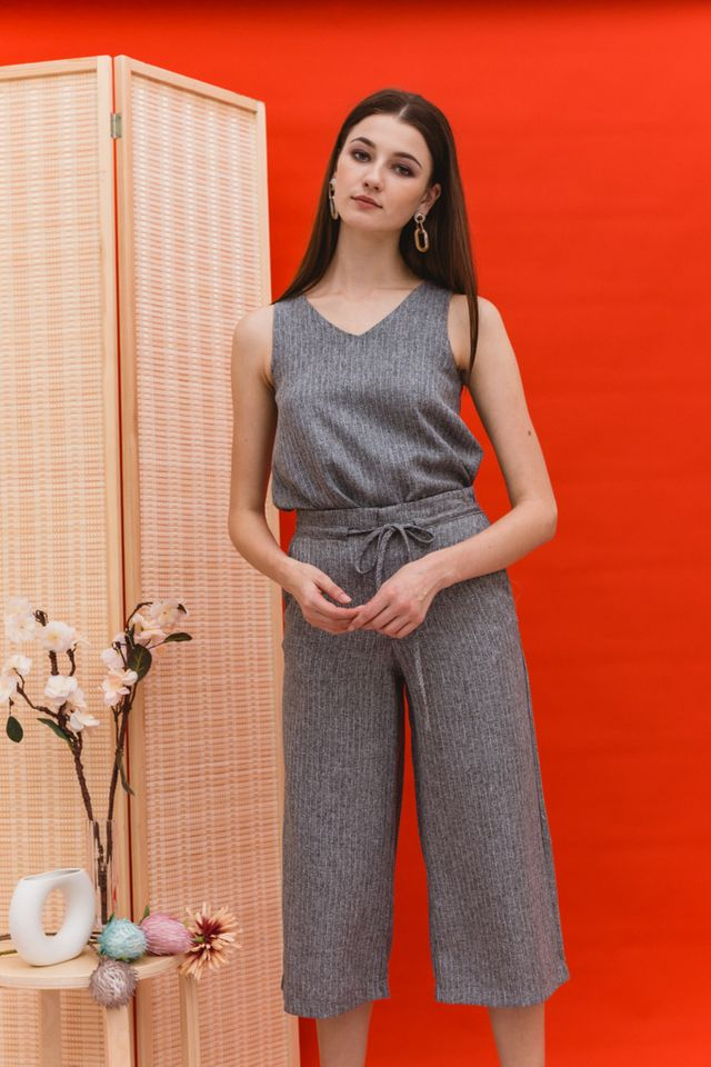 Rhona Stitched Flare Top in Grey