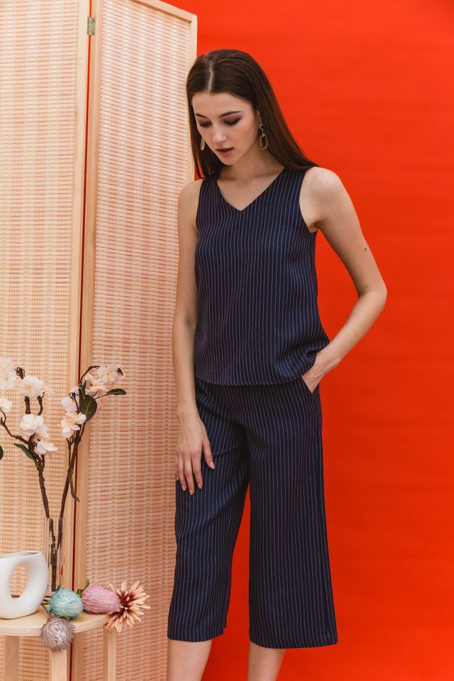 Rhona Stitched Flare Top in Navy