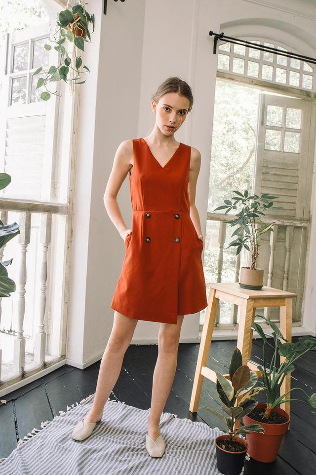 Kelsie Button Overlay Dress in Rust (XS)