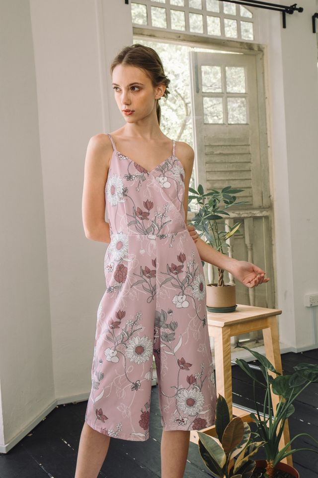 Alondra Floral Mid-Length Jumpsuit in Pink