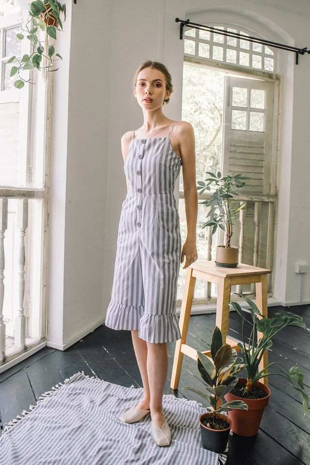 Amelie Striped Ruffles Jumpsuit in Grey