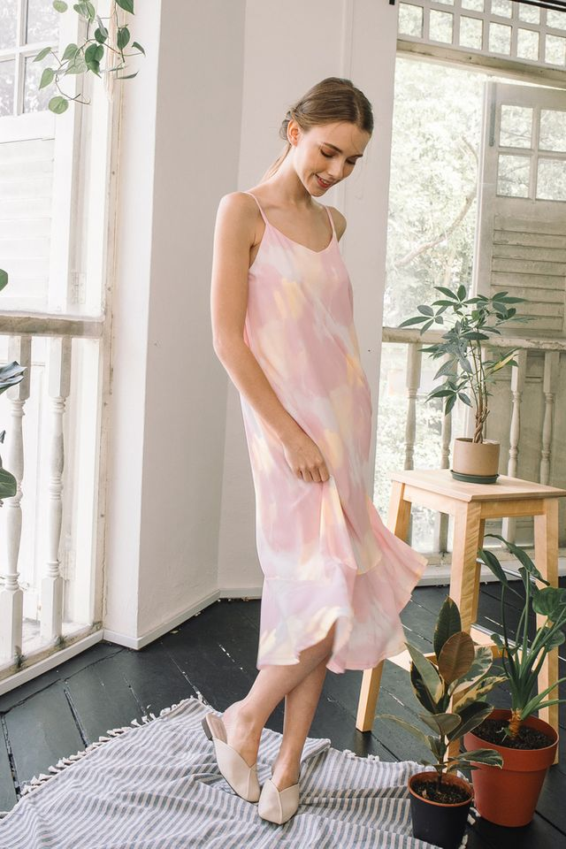 Maribel Watercolour Slip Dress in Pink