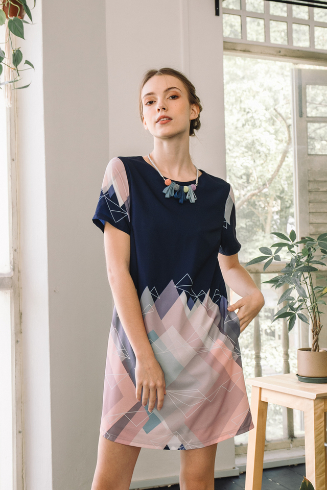 Penny Geometric Shift Dress in Navy