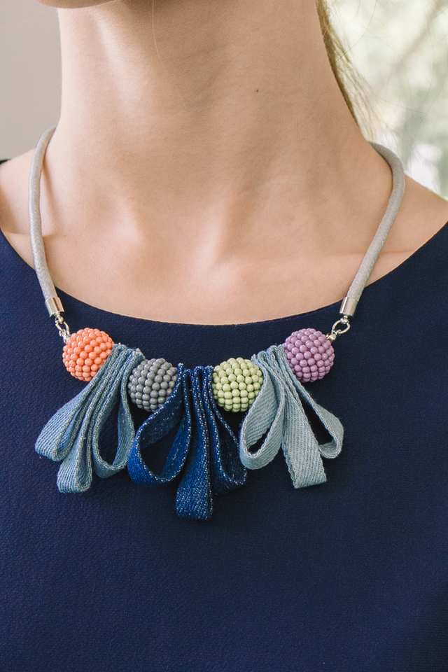 Soleille Bead & Ribbon Necklace in Blue