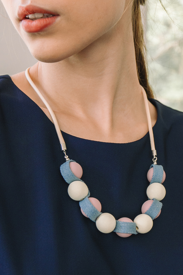 Solara Bead Necklace in Pink