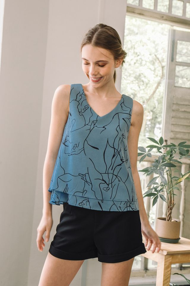 Ramona Abstract Layered Top in True Blue