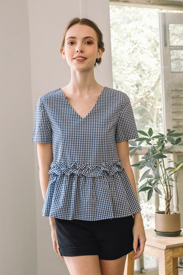 Moira Gingham Babydoll Top in Navy