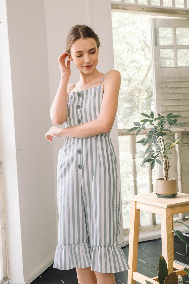 Amelie Striped Ruffles Jumpsuit in Green