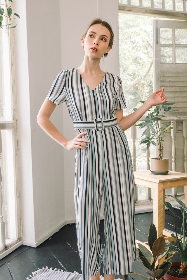 Jalissa Pinstripe Buckle Jumpsuit in Blue