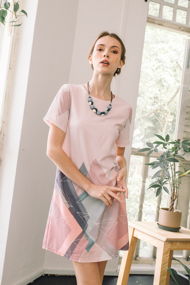 Penny Geometric Shift Dress in Pastel Pink