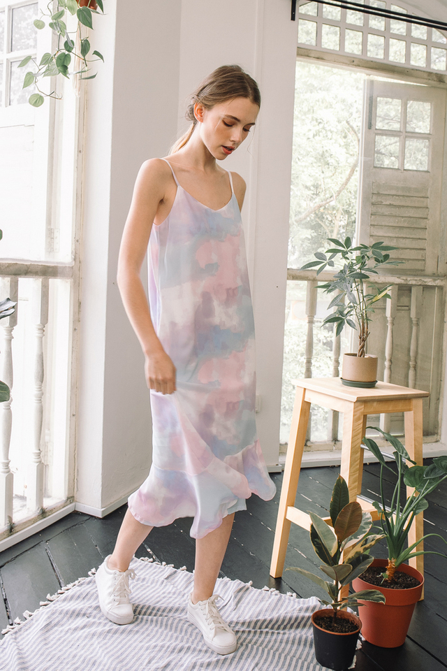 Maribel Watercolour Slip Dress in Blue