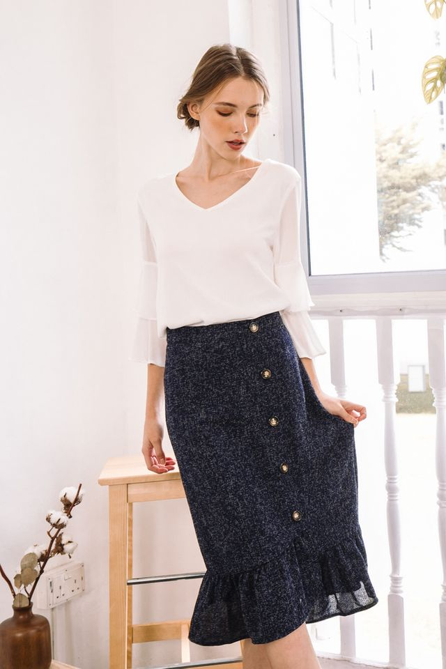 Agata Tweed Midi Skirt in Navy