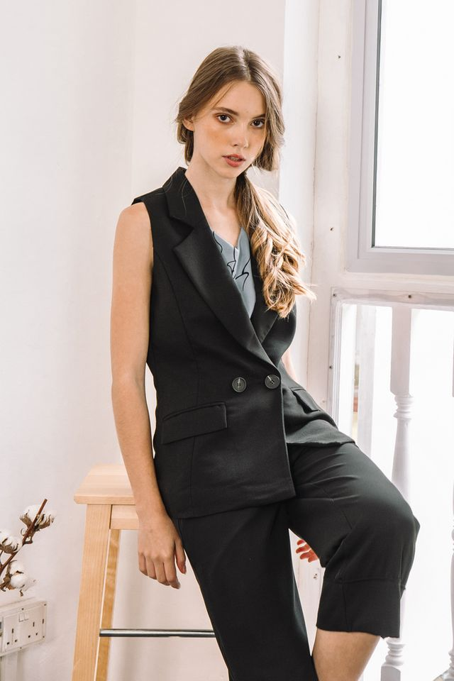 Anais Button Vest in Black