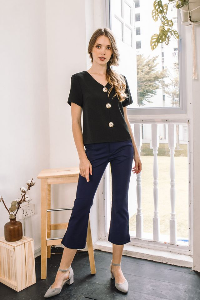 Caro High Waisted Work Pants in Navy