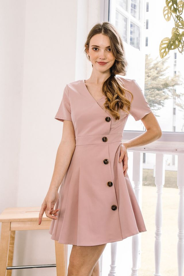 Daleya Button Side Pleated Dress in Dusty Pink