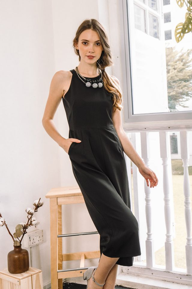 Alissa Halter Jumpsuit in Black