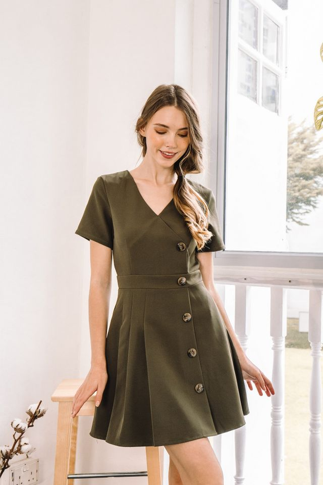 Daleya Button Side Pleated Dress in Olive