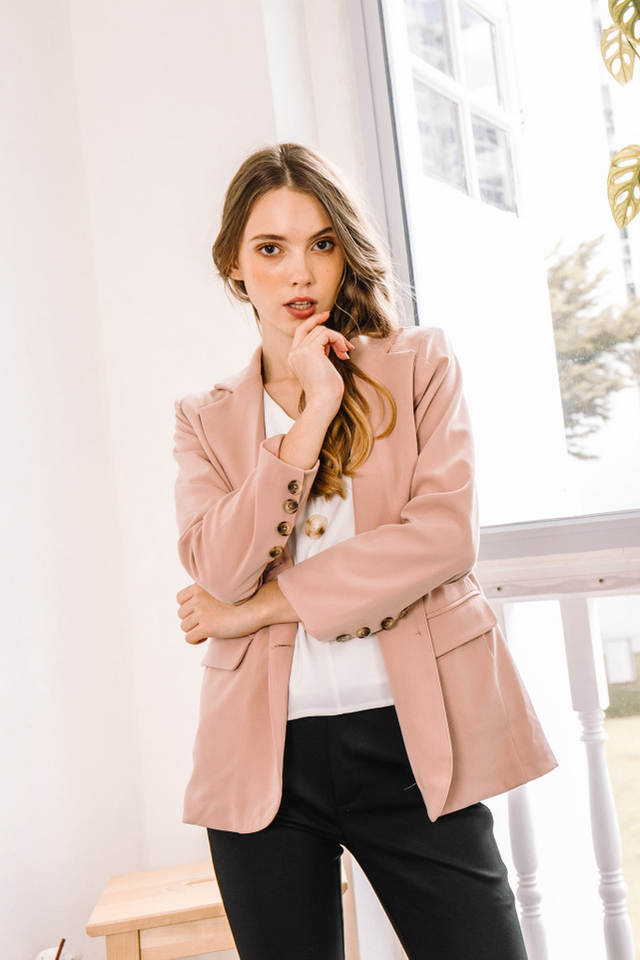 Dionis Basic Blazer in Pink