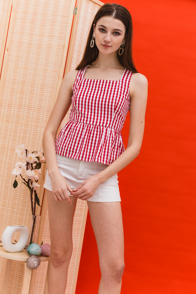 398ff483e28a9 Phillidia Gingham Peplum Top in Red