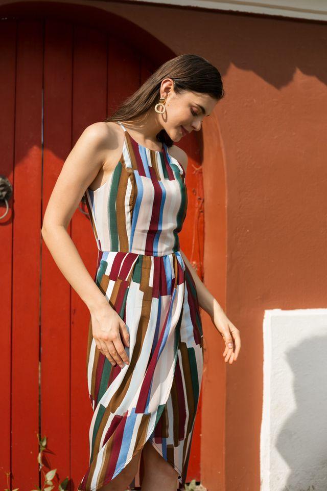 Jorma Paintbrush Halter Dress in Plum