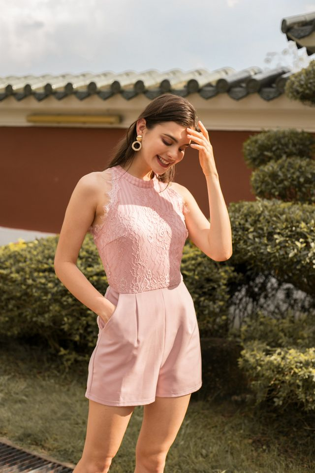 Ivara Lace Fringe Romper in Pink