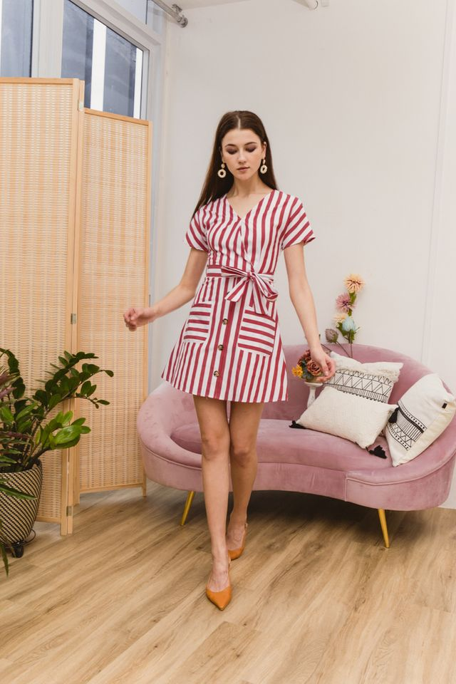 Athalia Striped Double Pocket Dress in Red