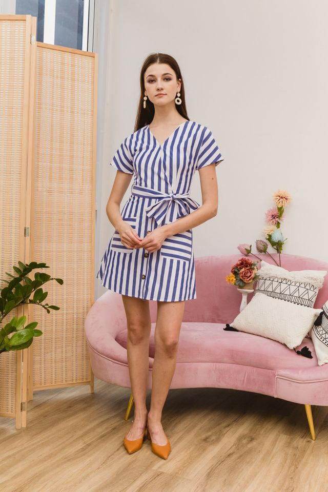 Athalia Striped Double Pocket Dress in Blue (XS)