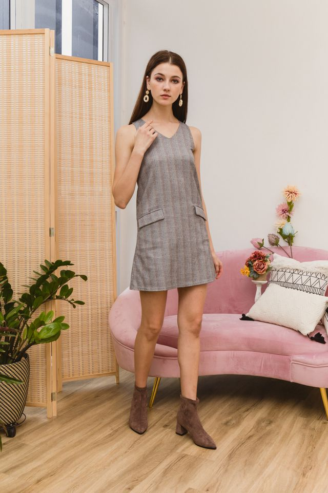 Fantine Plaid Shift Dress in Black