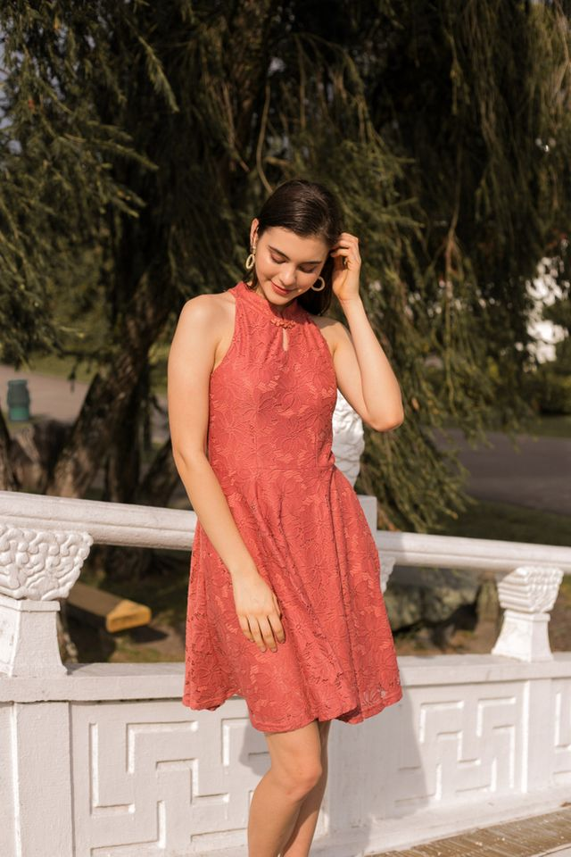 Harriet Lace Skater Dress in Melon Orange