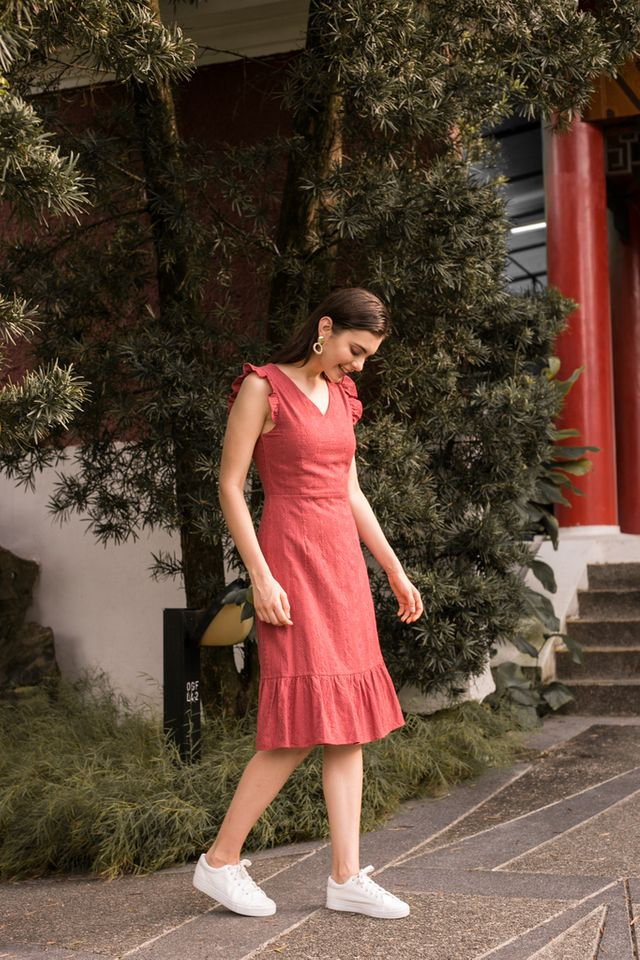 Jayce Embroidered Midi Dress in Strawberry Pink