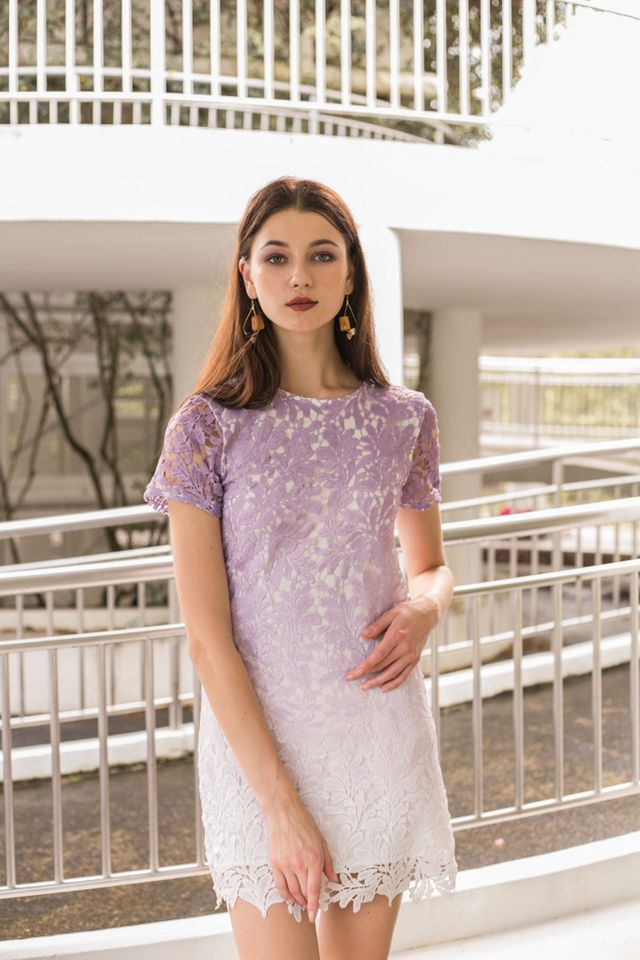 Callie Ombré Crochet Dress in Lilac