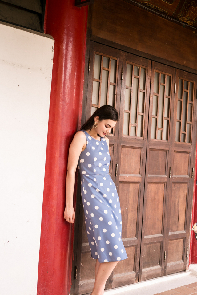 Parisa Polka Dot Midi Dress in Blue