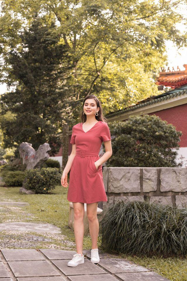 Francine Belted Dress in Rouge