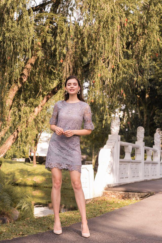 Mabel Floral Crochet Shift Dress in Grey