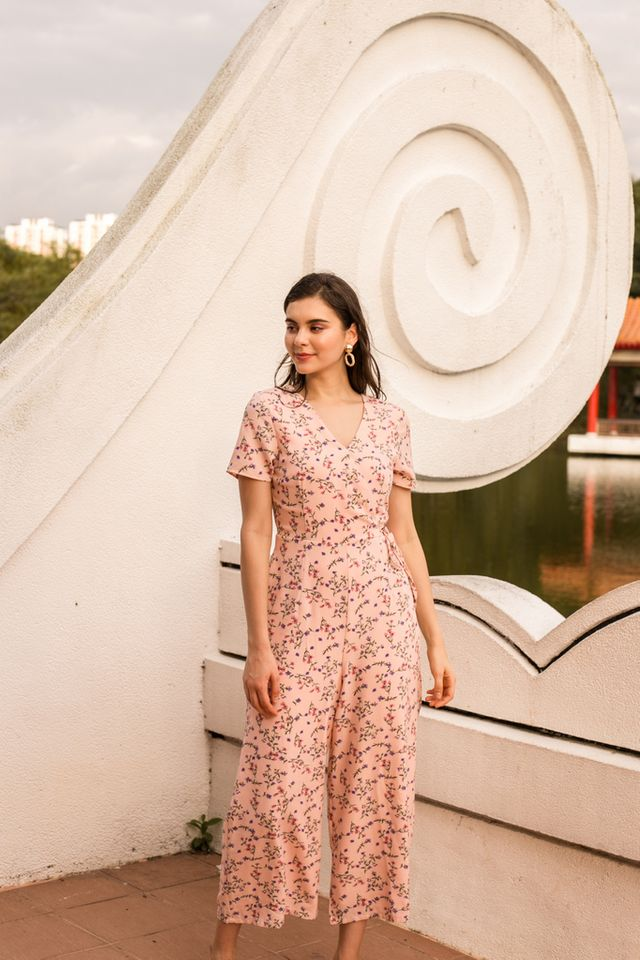 Roslyn Floral Maxi Jumpsuit in Peach Pink