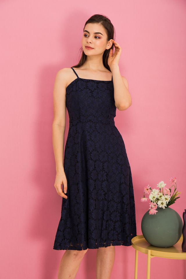 Anitha Lace Midi Dress in Navy