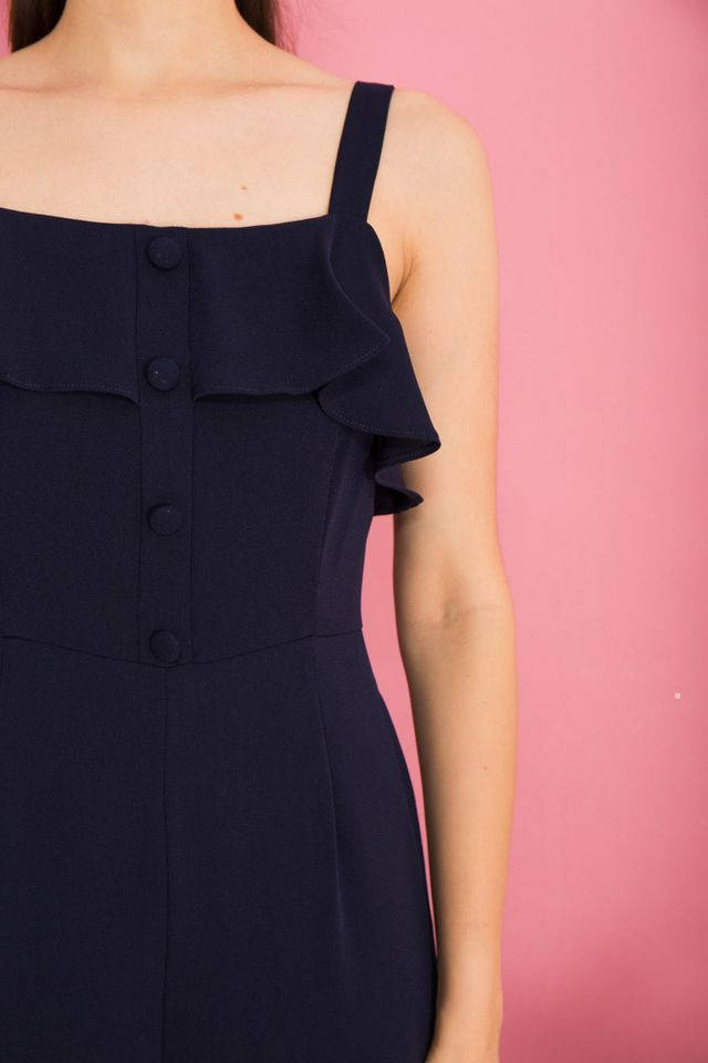 Marlin Ruffles Button Jumpsuit in Navy (L)