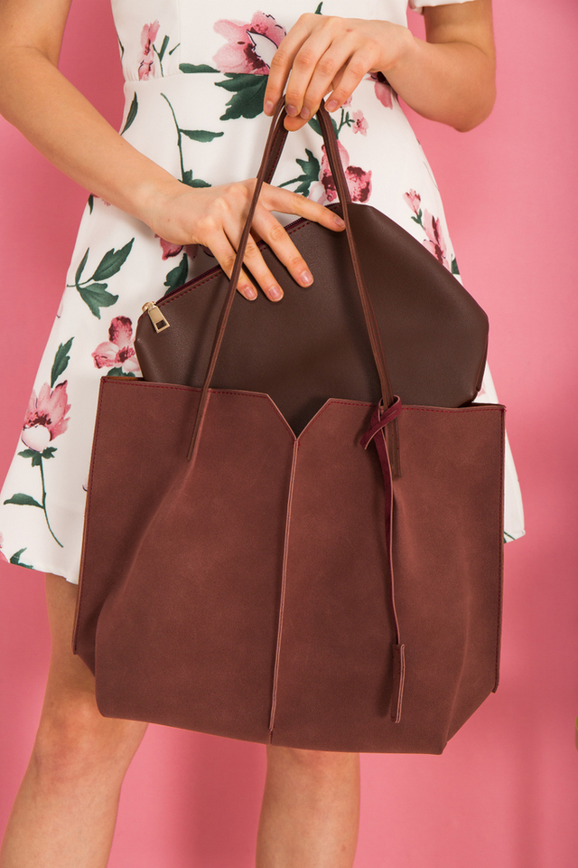 Cydney Two-tone Handbag in Redwood